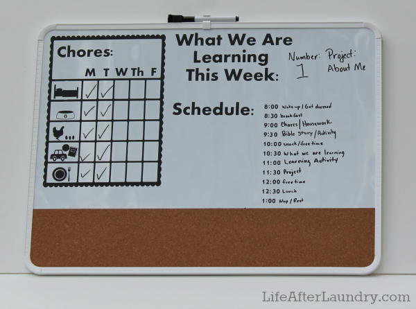Command Center for Mom's and Preschoolers. Picture Chore Chart and a Schedule for daily activities on dry erase board. | Lifeafterlaundry.com | #Organizing #preschool #Chore #Chart #Schedule