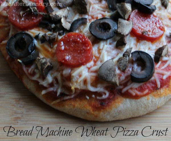 Bread Machine Wheat Pizza Crust   LifeAfterLaundry.com   #pizza #dough #recipe #breadmachine