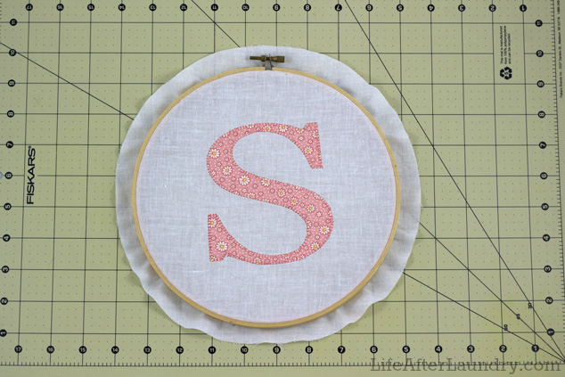 Placing the fabric in the hoop