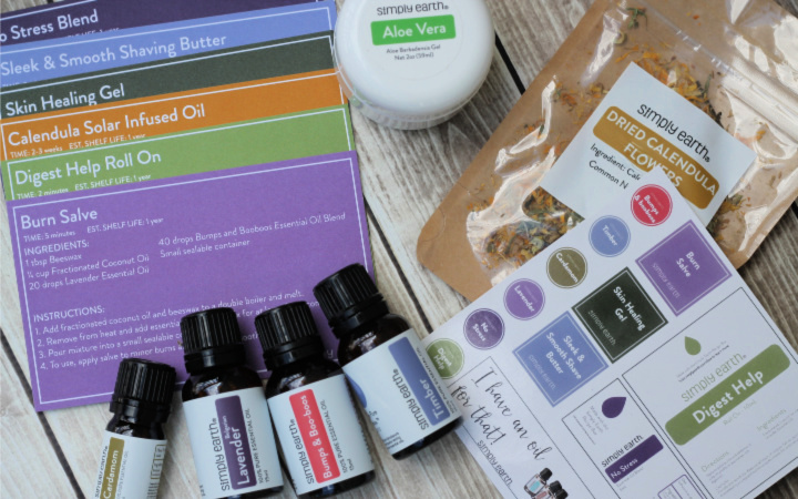 Simply Earth Essential Oil Recipe Box Oily Aid Kit